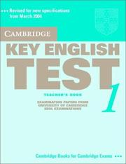 Cover of: Cambridge Key English Test 1 Teacher's Book