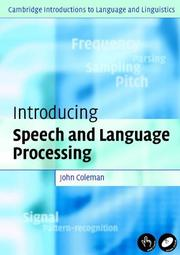 Cover of: Introducing Speech and Language Processing (Cambridge Introductions to Language and Linguistics)