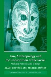 Cover of: Law, Anthropology, and the Constitution of the Social |
