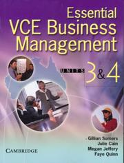 Cover of: Essential VCE Business Management Units 3&4 with CD-Rom | Gillian Somers