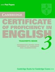 Cover of: Cambridge Certificate of Proficiency in English 3 Teacher's Book