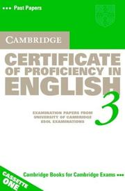 Cover of: Cambridge Certificate of Proficiency in English 3 Cassette Set