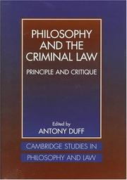 Cover of: Philosophy and the criminal law