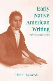 Cover of: Early native American writing |