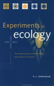 Cover of: Experiments in ecology