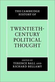Cover of: Cambridge History of 20th Century Political Thought |