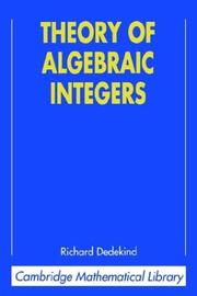 Cover of: Theory of algebraic integers