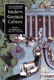 Cover of: The Cambridge companion to modern German culture |