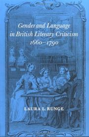 Cover of: Gender and Language in British Literary Criticism, 16601790