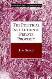 Cover of: The political institution of private property