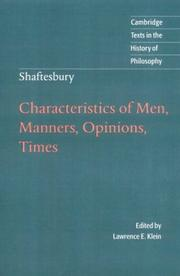 Cover of: Characteristics of men, manners, opinions, times
