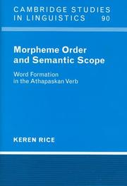 Cover of: Morpheme order and semantic scope