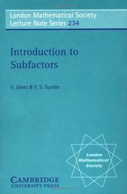 Cover of: Introduction to subfactors