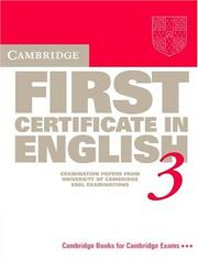 Cover of: Cambridge First Certificate in English 3 Student's book