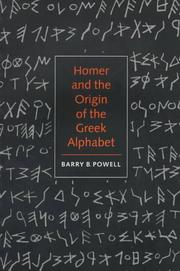 Cover of: Homer and the origin of the Greek alphabet