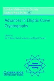 Cover of: Advances in elliptic curve cryptography by