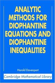Cover of: Analytic Methods for Diophantine Equations and Diophantine Inequalities (Cambridge Mathematical Library) | H. Davenport