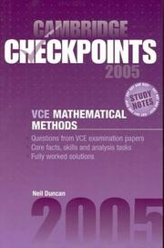 Cover of: Cambridge Checkpoints VCE Mathematical Methods 2005
