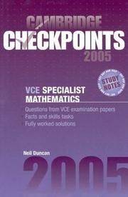 Cover of: Cambridge Checkpoints VCE Specialist Mathematics 2005