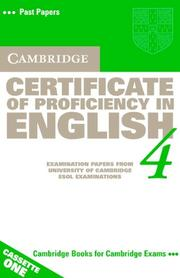 Cover of: Cambridge Certificate of Proficiency in English 4 Cassette Set (CPE Practice Tests) | Cambridge ESOL