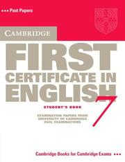 Cover of: Cambridge First Certificate in English 7 Student's Book (FCE Practice Tests)