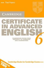 Cover of: Cambridge Certificate in Advanced English 6 Cassette Set