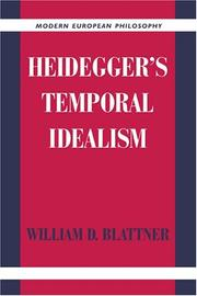 Cover of: Heidegger's temporal idealism