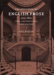 Cover of: The Evolution of English Prose, 17001800