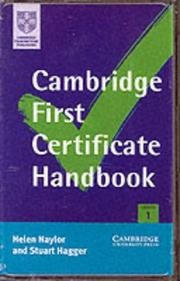 Cover of: Cambridge First Certificate Handbook Cassette Set (Cambridge First Certificate) | Helen Naylor