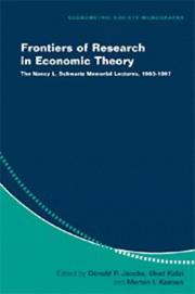 Cover of: Frontiers of Research in Economic Theory |