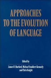 Cover of: Approaches to the Evolution of Language |