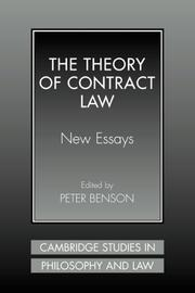 Cover of: The Theory of Contract Law