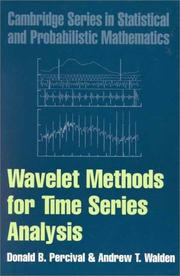 Cover of: Wavelet Methods for Time Series Analysis (Cambridge Series in Statistical and Probabilistic Mathematics) | Donald B. Percival