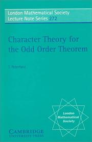 Cover of: Character theory for the odd order theorem