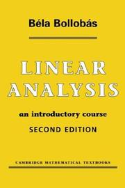 Cover of: Linear analysis