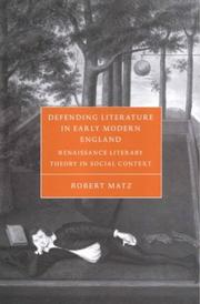 Cover of: Defending Literature in Early Modern England