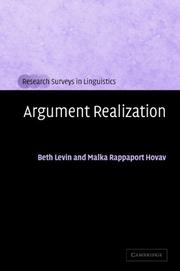 Cover of: ARGUMENT REALIZATION |