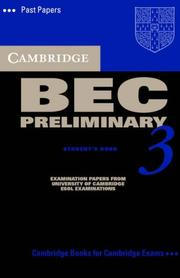 Cover of: Cambridge BEC Preliminary 3 Audio Cassette (BEC Practice Tests)