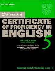 Cover of: Cambridge Certificate of Proficiency in English 5 Student's Book with Answers