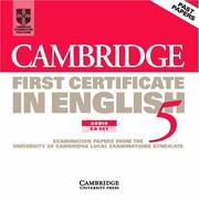 Cover of: Cambridge First Certificate in English 5 Audio CD Set