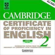 Cover of: Cambridge Certificate of Proficiency in English 2 Audio CD Set