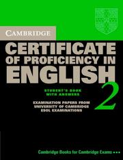 Cover of: Cambridge Certificate of Proficiency in English 2 Student's Book with Answers