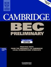 Cover of: Cambridge BEC Preliminary 1 | University of Cambridge Local Examinations Syndicate