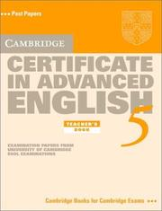 Cover of: Cambridge Certificate in Advanced English 5 Teacher's Book