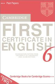 Cover of: Cambridge First Certificate in English 6 Cassette Set