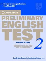 Cover of: Cambridge Preliminary English Test 2 Teacher's Book