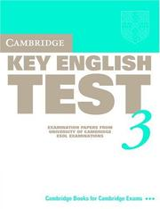 Cover of: Cambridge Key English Test 3 Student's Book