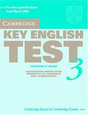 Cover of: Cambridge Key English Test 3 Teacher's Book