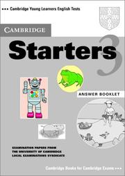 Cover of: Cambridge Starters 3 Answer Booklet
