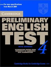 Cover of: Cambridge Preliminary English Test 4 Student's Book with Answers